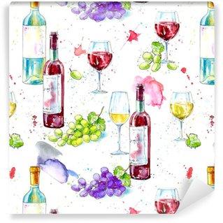 Naadloze patroon van een fles witte en rode wijn, druivenmost en glasses.picture van een alcoholische drank.waterverf hand getrokken illustration.white achtergrond.