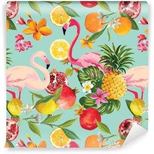Zelfklevend behang, op maat gemaakt Naadloze tropische vruchten en flamingo patroon in vector. granaatappel, citroen, oranje bloemen, bladeren en vruchten achtergrond.