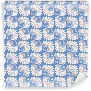 Zelfklevend behang, op maat gemaakt Naadloze vintage patroon met gestileerde schelpen