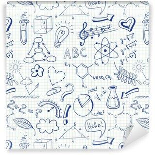 Zelfklevend behang, op maat gemaakt Onderwijs doodle naadloze patroon met wetenschap symbolen
