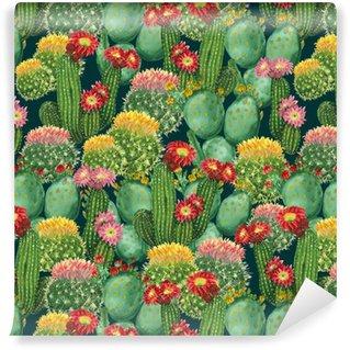 Zelfklevend behang, op maat gemaakt Patroon met bloeiende cactussen