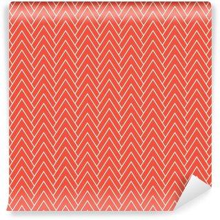 Zelfklevend behang, op maat gemaakt Rode chevronpatroon