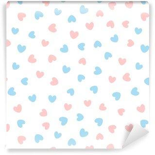 Zelfklevend behang, op maat gemaakt Schattig naadloze patroon met blauwe en roze harten verspreid op witte achtergrond.