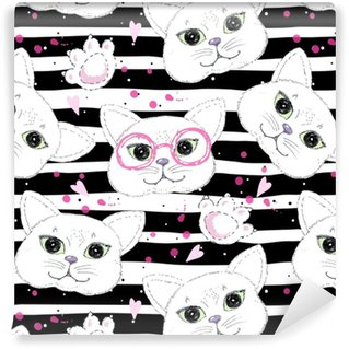 Zelfklevend behang, op maat gemaakt Schattige katten naadloze patroon achtergrond