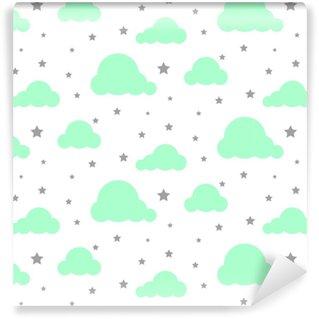 Zelfklevend behang, op maat gemaakt Starlight nachtelijke hemel naadloze jongen vector patroon. witte achtergrond. minimalistische baby-stijl textiel textiel cartoon Scandinavische ornament.