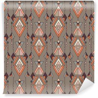Zelfklevend behang, op maat gemaakt Tribal vintage etnische naadloze patroon. aztec, mexicaans, navajo, afrikaans motief.