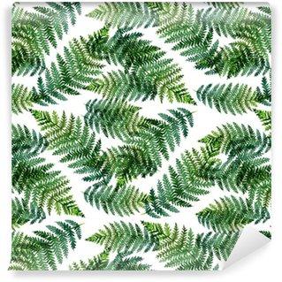 Zelfklevend behang, op maat gemaakt Tropisch waterverf abstract patroon met varenbladeren
