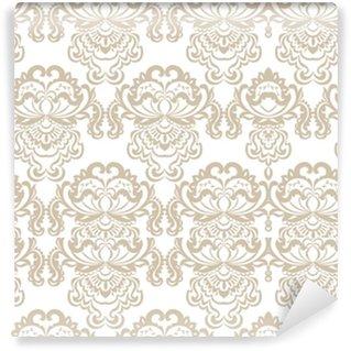 Zelfklevend behang, op maat gemaakt Vector bloemen damast barok ornament patroon element. elegante luxetextuur voor textiel, stoffen of behangachtergronden. beige kleur