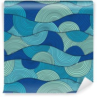 Zelfklevend behang, op maat gemaakt Vector naadloze patroon met abstracte golven
