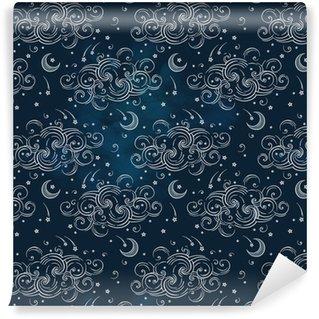 Zelfklevend behang, op maat gemaakt Vector naadloze patroon met hemellichamen - manen, sterren en wolken. Boho chic print hand getrokken textiel ontwerp