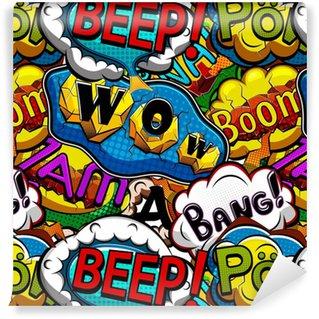 Zelfklevend behang, op maat gemaakt Veelkleurige comics spraak bubbels naadloze patroon