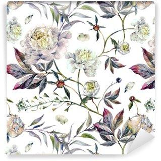 Zelfklevend Behang Watercolour White Peonies Pattern