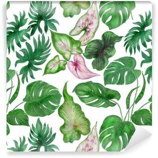 Zelfklevend behang, op maat gemaakt Waterverf die naadloos patroon met tropische bladeren schildert