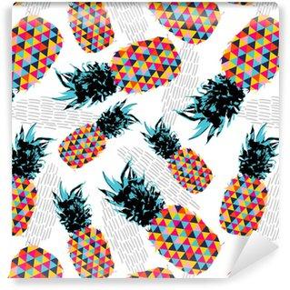 Zelfklevend behang, op maat gemaakt Zomer naadloze patroon met kleur retro ananas
