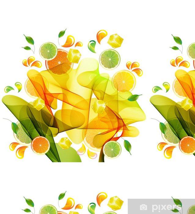 Vinyl Behang Sinaasappel, citroen en limoensap splash - Muursticker
