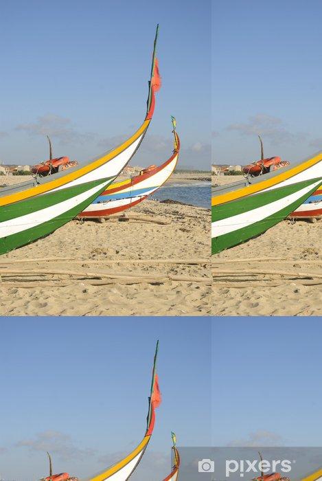 Carta da Parati a Motivi in Vinile Tipico portoghese barca da pesca sulla spiaggia, Espinho, Portogallo - Europa