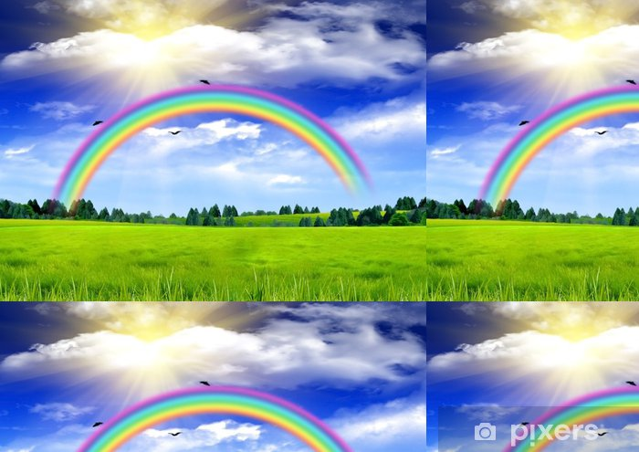 Papel de Parede em Vinil Rainbow in the blue sky over a glade - Fundos