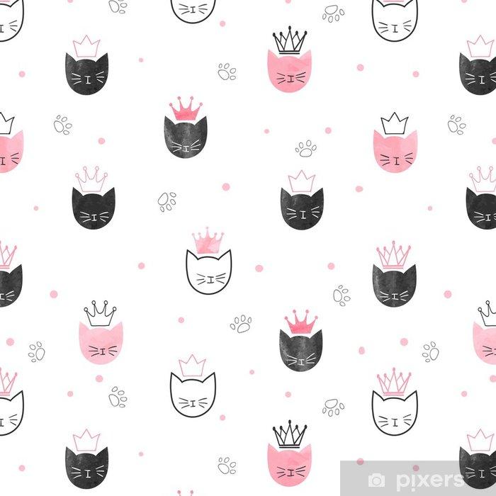 Papel Pintado Patrón de princesa gatos sin costura. Fondo de ...