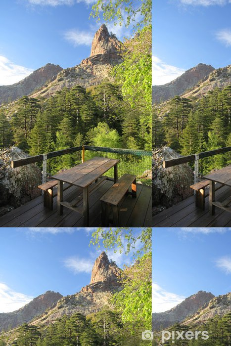 Papel Pintado Estándar Terraza y vistas a la montaña, GR20, Córcega. - Europa