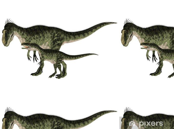 Papier peint à motifs vinyle Adultes et jeunes Monolophosaurus - Sticker mural