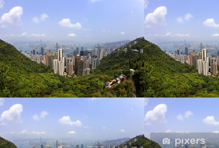 Papier peint à motifs vinyle Hong Kong skyline - Asie