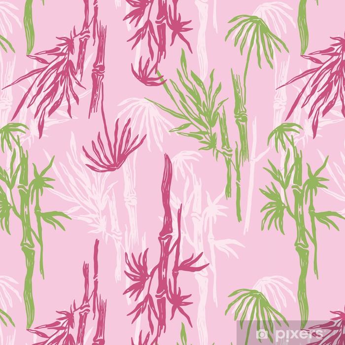 Papier Peint A Motifs Modele Sans Couture De Bambou Sur Fond Rose
