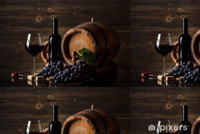 Papier peint à motifs vinyle Nature morte avec du vin rouge - Thèmes