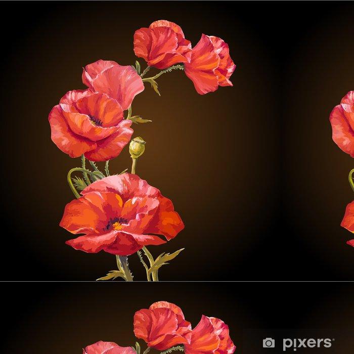 0c2f5330843a Papier peint à motifs Peinture à l huile. Carte avec fleurs de pavots