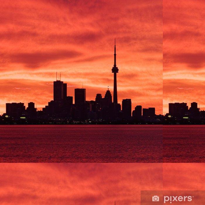 Vinyltapete Downtown Toronto Aufwachen zu einem feurigen Himmel - Amerika