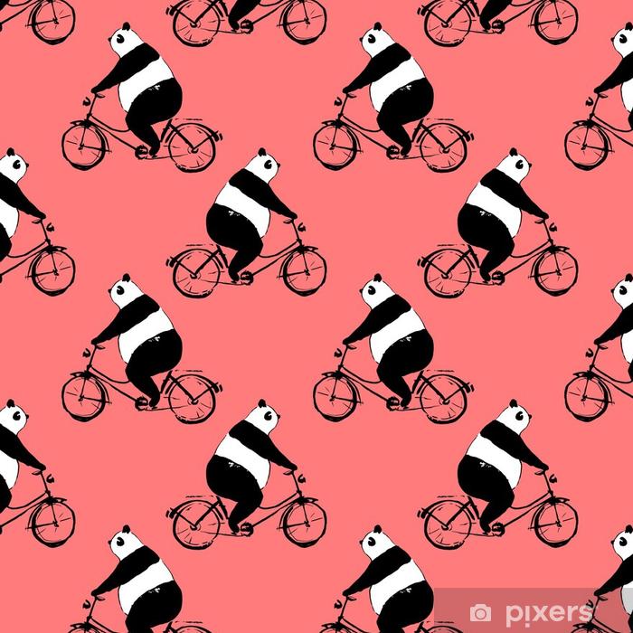 tapete nahtlose muster mit pandab r auf fahrrad schwarz wei bild auf rotem grund pixers. Black Bedroom Furniture Sets. Home Design Ideas