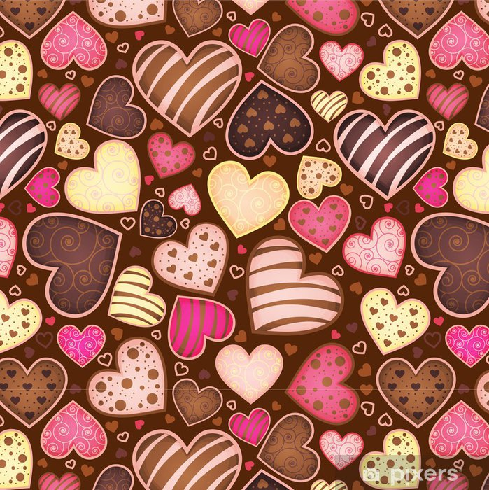 Vinyltapete Nahtlose Muster mit Schokolade Süßigkeit in Form Herz - Für Café