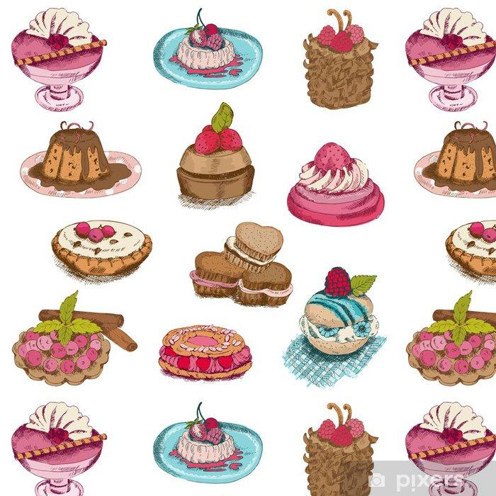 Tapete Set Von Kuchen Sussigkeiten Und Desserts In Vektor Hand