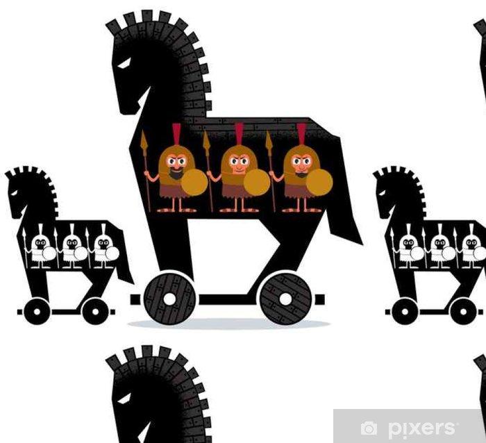 Vinyltapete Trojanisches Pferd / Cartoon Trojanisches Pferd mit griechischen Soldaten in es in zwei Versionen. - Menschen