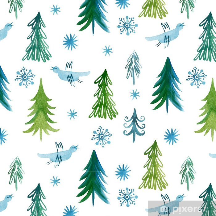 Vinyltapete Weihnachtsbäume, nahtlose Muster -