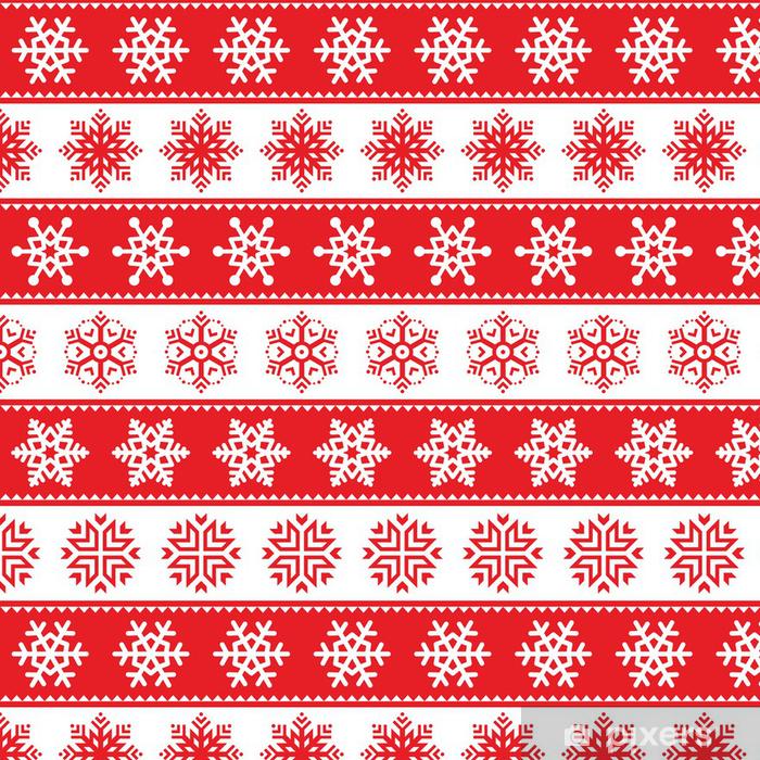 Tapete Winter, Weihnachten rot nahtlose Muster mit Schneeflocken ...