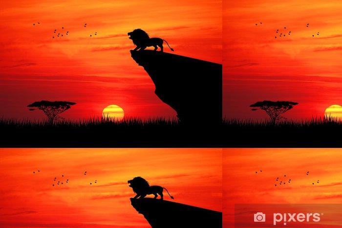 Vinyltapet Lejon på repet vid solnedgången - Teman