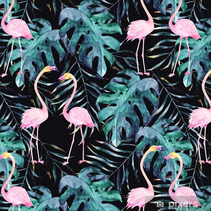 Tapeta winylowa Akwarela bezszwowe wzór. tropikalny nadruk z flamingo. ręcznie rysowane ilustracji - Zasoby graficzne