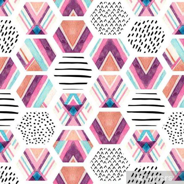 Tapeta winylowa Akwarela sześciokąt szwu z geometrycznych elementów ozdobnych - Zasoby graficzne