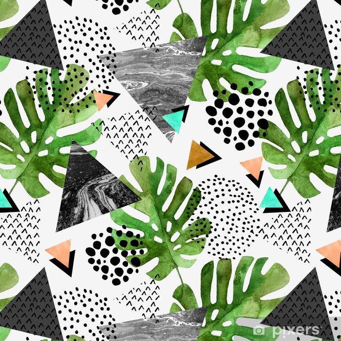 Tapeta winylowa Akwarela tropikalny liści i teksturowanej tło trójkąty - Zasoby graficzne