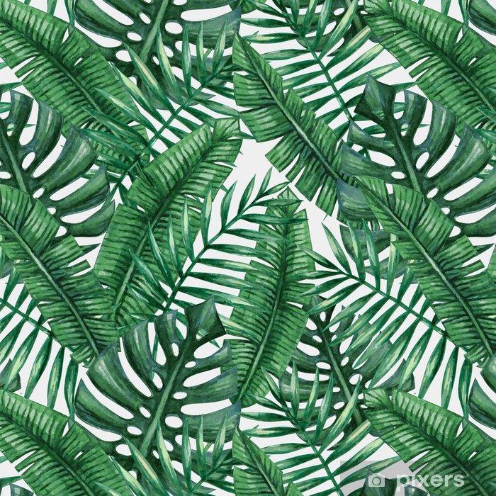 Tapeta winylowa Akwarela tropikalnych liści palmowych szwu wzorca. ilustracji wektorowych. - Zasoby graficzne