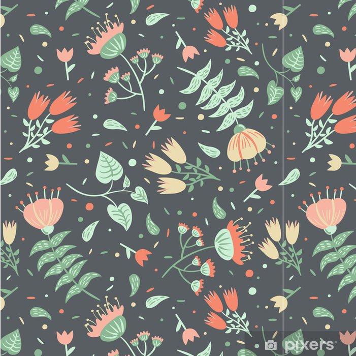Vinylová Tapeta Bezešvé květinový vzor na šedém pozadí - Pozadí
