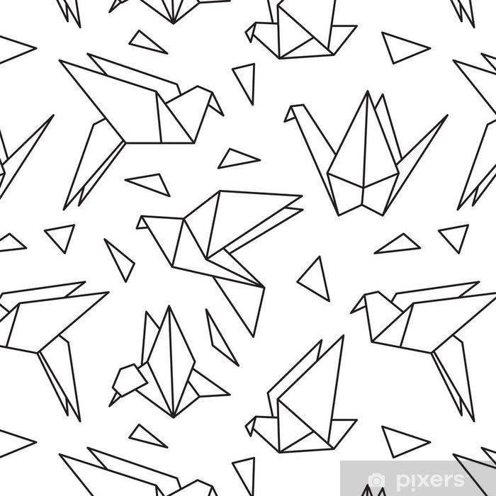 Vinylová Tapeta Bezešvé vzor s origami ptáků. Může být použit pro tapetu plochy nebo rámem pro zavěšení na zeď nebo plakátu, za vzor výplně, textury povrchů, webové stránky pozadí, textilní a další. - Grafika