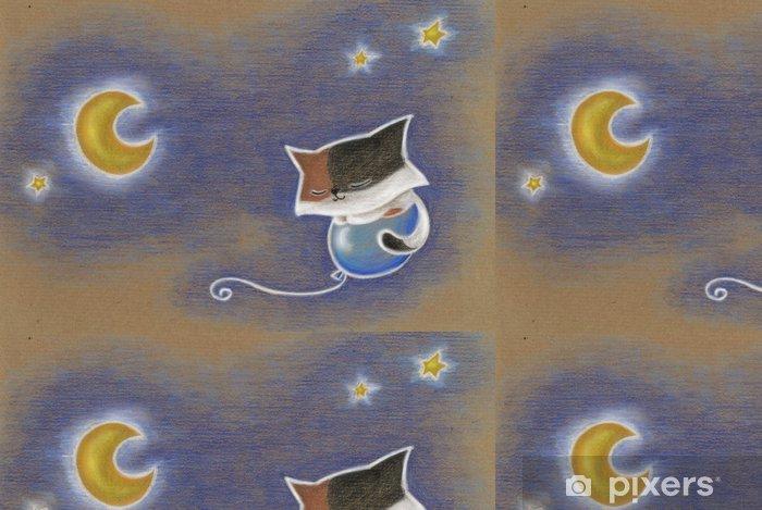 Vinylová Tapeta Gatto che vola su un palloncino nel cielo di notte - Savci