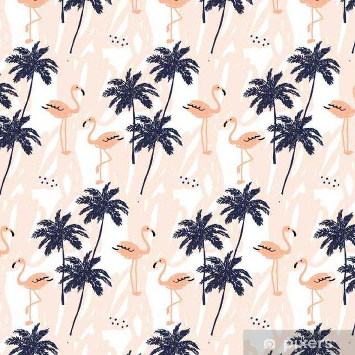 Tapeta winylowa Palmy sylwetka i rumieniec Pink Flamingo na białym tle z kresek. Wektor bez szwu z ptaków i roślin tropikalnych. - Zwierzęta