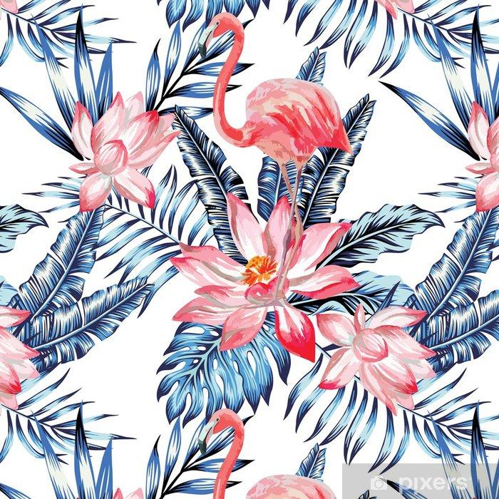 Tapeta winylowa Różowy flaming i niebieski wzór liści palmy - Zwierzęta