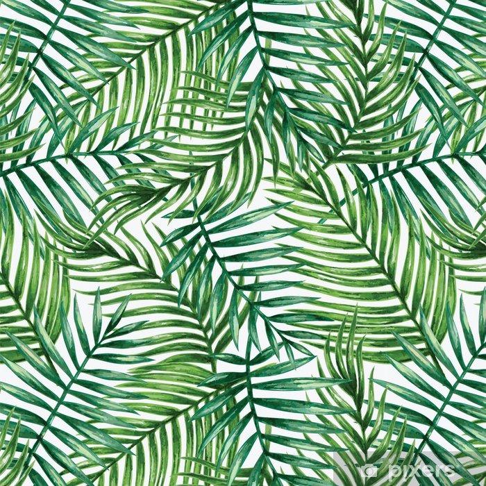 Tapeta winylowa Watercolor tropical palm leaves seamless pattern. Vector illustration. - Tła
