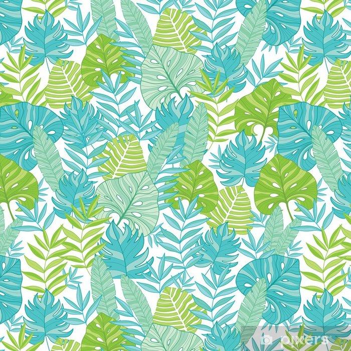 Tapeta winylowa Wektor niebieski zielony tropikalny liści lato hawajski szwu z tropikalnych roślin i liści na granatowym tle. idealne na wakacje tematyczne tkaniny, tapety, opakowania. - Rośliny i kwiaty
