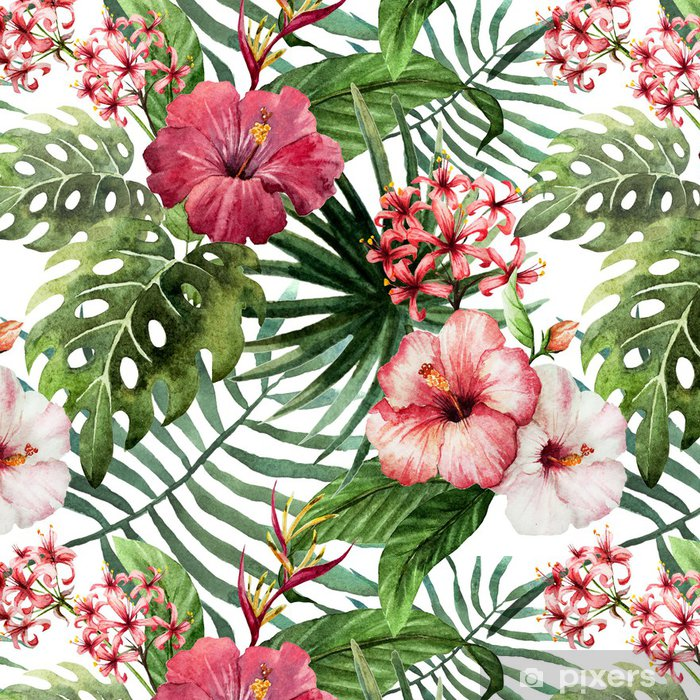 Tapeta winylowa Wzór liści hibiskusa orchidei tropików akwarela - Drzewa