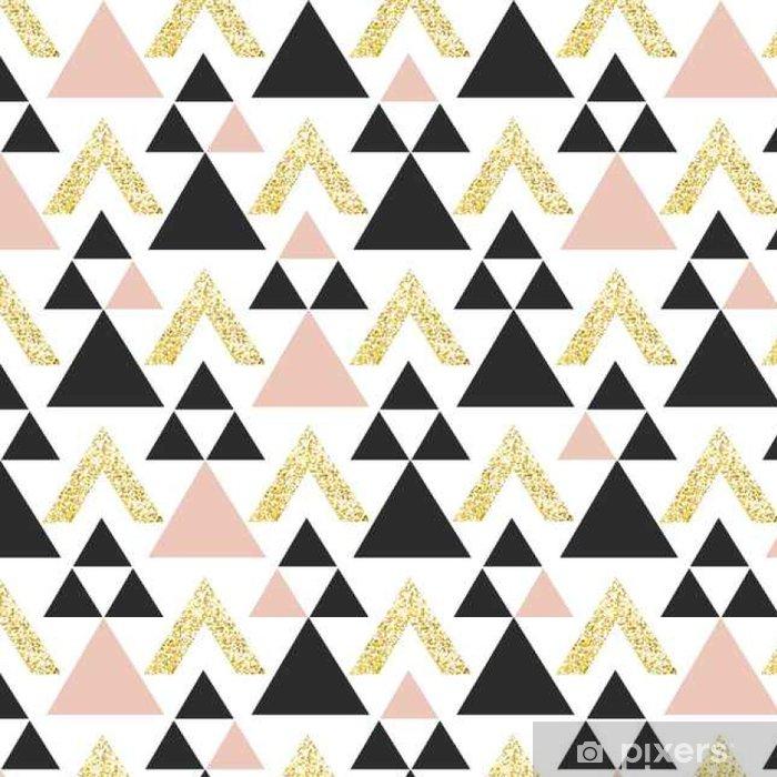 Tapeta winylowa Złoto tła geometrycznej trójkąt. Streszczenie szwu z trójkątów w złocie i ciemnoszarym. - Zasoby graficzne