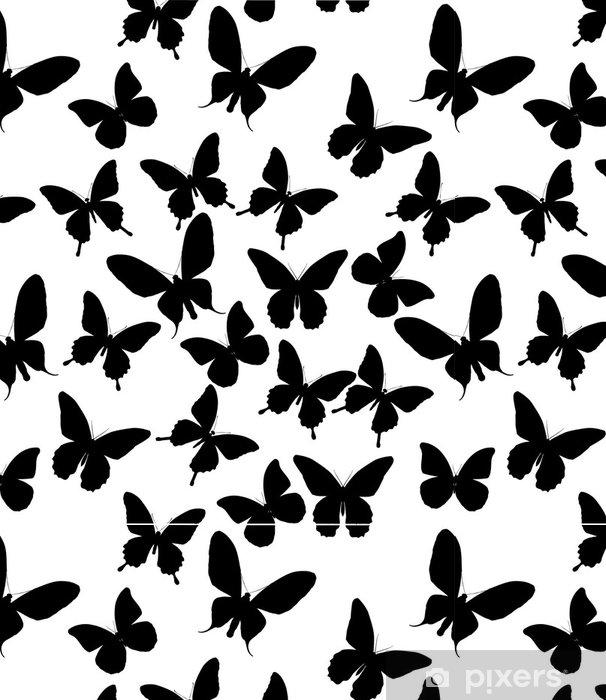 Background With Black Butterflies Vinyl Wallpaper